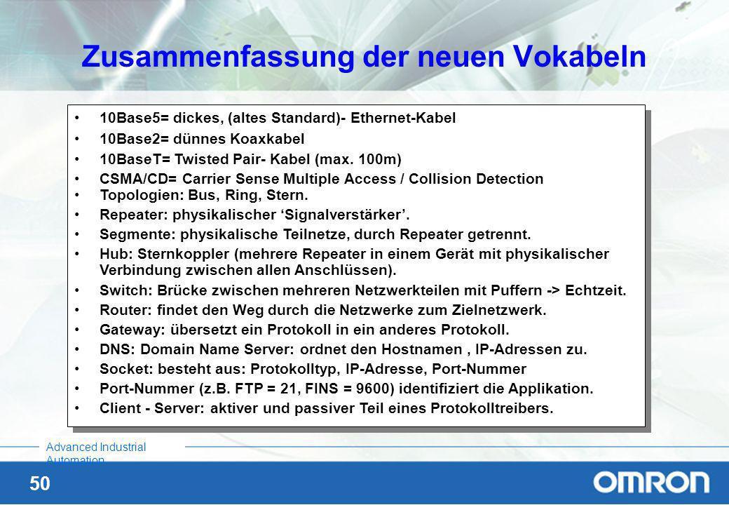 49 Advanced Industrial Automation Symbolische Namen für IP-Adressen In diesem Zusammenhang tauchen die Begriffe –Hosts-Datei, –DNS (Domain Name Server