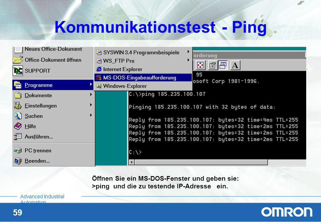 58 Advanced Industrial Automation Einstellungen im PC Über Systemsteuerung, Netzwerk / Konfiguration/ TCP/IP, Kartenbezeichnung Eigenschaften eine fes
