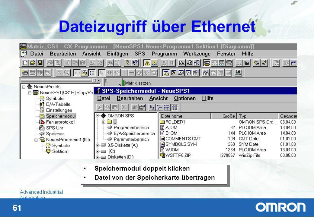 60 Advanced Industrial Automation Mit CX-P online zur SPS über Ethernet In CX-Programmer: SPS markieren Rechte Maustaste, Ändern, Netzwerktyp: Etherne