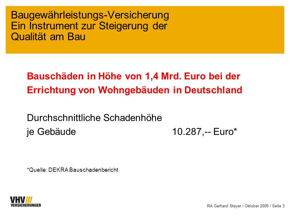 RA Gerhard Steyer / Oktober 2009 / Seite 13 Vorteil Liquidität Ersetzt Bürgschaften, wodurch die Belastung der Kreditlinie durch Avalzinsen und ggf.