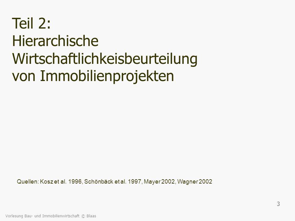 Vorlesung Bau- und Immobilienwirtschaft © Blaas 24 Zur Durchführung der Rentabilitätsrechnung: welche Kosten- /Ertragspositionen sind wichtig.