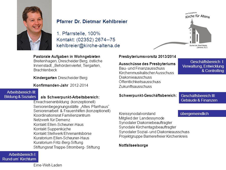 Pfarrer Dr. Dietmar Kehlbreier 1. Pfarrstelle, 100% Kontakt: (02352) 2674--75 kehlbreier@kirche-altena.de Pastorale Aufgaben in Wohngebieten Breitenha