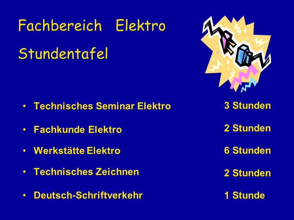 Fachbereich Elektro Stundentafel Technisches Seminar Elektro Fachkunde Elektro Werkstätte Elektro Technisches Zeichnen Deutsch-Schriftverkehr 3 Stunde