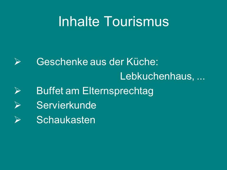 Inhalte Tourismus Geschenke aus der Küche: Lebkuchenhaus,... Buffet am Elternsprechtag Servierkunde Schaukasten