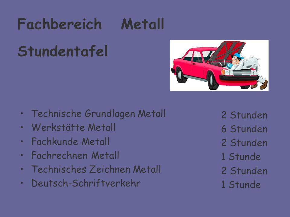 Fachbereich Metall Stundentafel Technische Grundlagen Metall Werkstätte Metall Fachkunde Metall Fachrechnen Metall Technisches Zeichnen Metall Deutsch