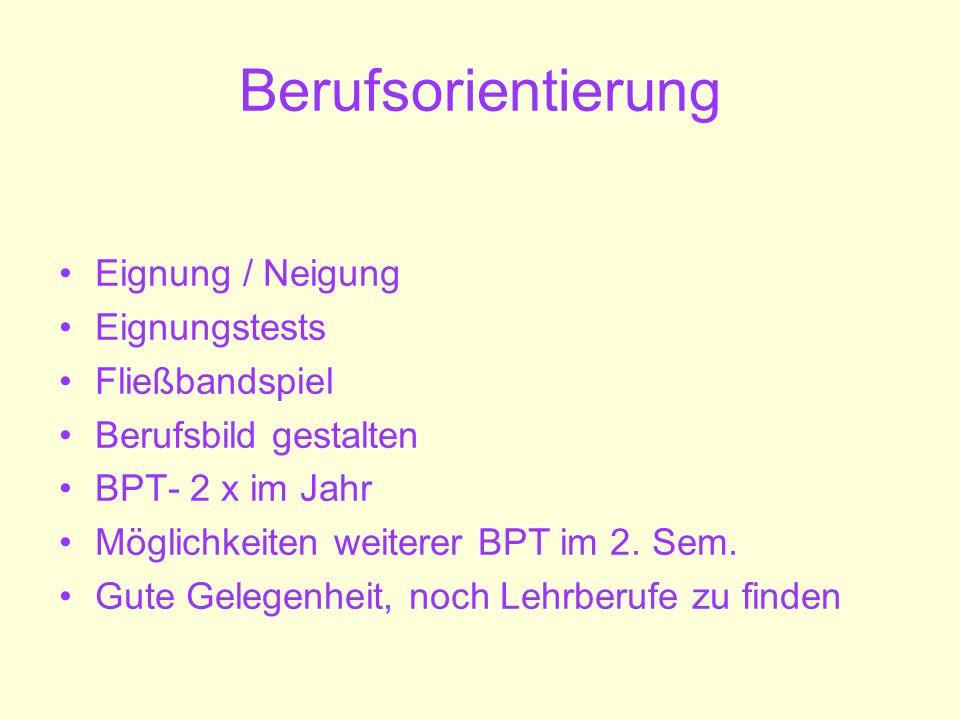 Berufsorientierung Eignung / Neigung Eignungstests Fließbandspiel Berufsbild gestalten BPT- 2 x im Jahr Möglichkeiten weiterer BPT im 2. Sem. Gute Gel