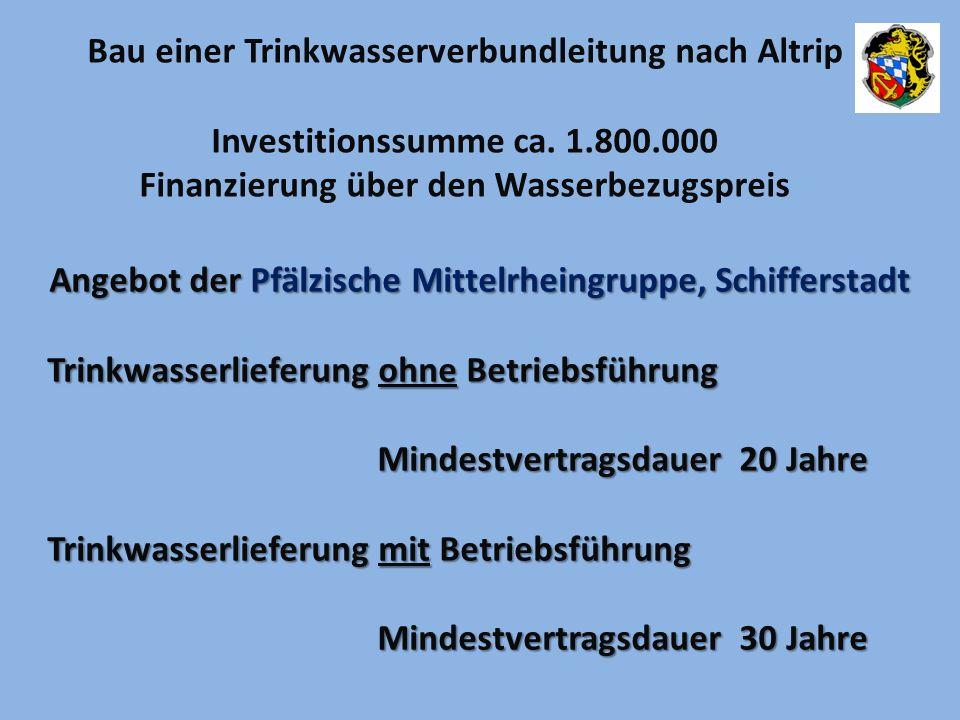 Angebot der Pfälzische Mittelrheingruppe, Schifferstadt Trinkwasserlieferung ohne Betriebsführung Mindestvertragsdauer 20 Jahre Mindestvertragsdauer 2