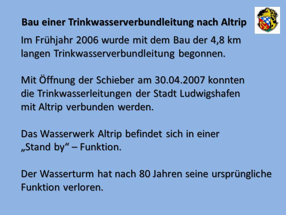 Im Frühjahr 2006 wurde mit dem Bau der 4,8 km langen Trinkwasserverbundleitung begonnen. Mit Öffnung der Schieber am 30.04.2007 konnten die Trinkwasse