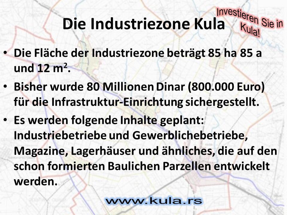 Brownfield Im Territoriun der Gemeinde Kula befinden sich auch, die einst führendsten Fabriken wie, die Fabrik Istra, die Armaturen herstellte, die Lederfabrik Eterna, die Baumwollstoffabrik Kulski štofovi AG.