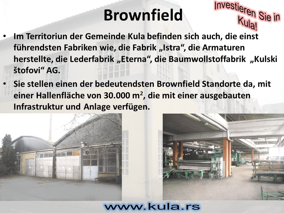 Brownfield Gebäude, die sich auf dem Brownfield Standort befinden sind: Fabrikhallen, Magazine, Labore und Verwaltungsgebäude.