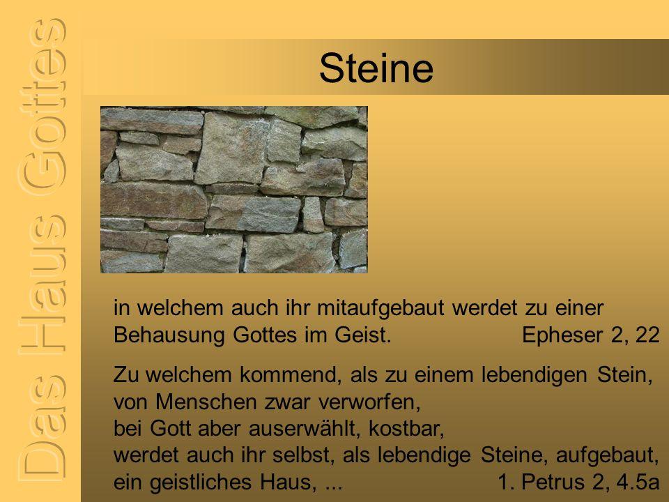 Steine in welchem auch ihr mitaufgebaut werdet zu einer Behausung Gottes im Geist. Epheser 2, 22 Zu welchem kommend, als zu einem lebendigen Stein, vo