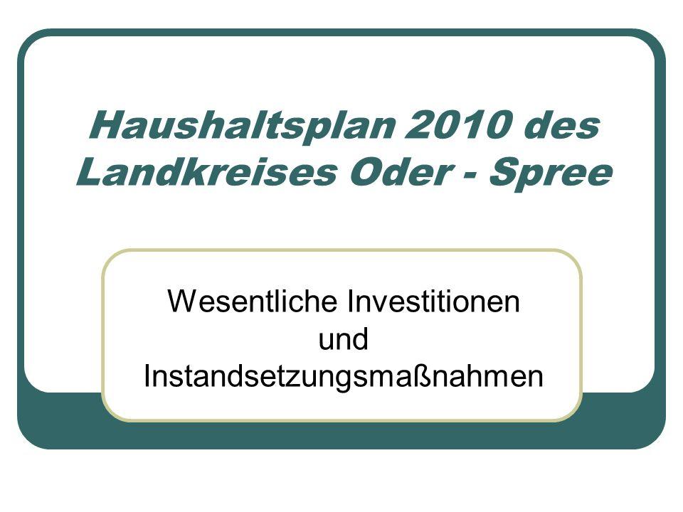 Haushaltsplan 2010 des Landkreises Oder - Spree Wesentliche Investitionen und Instandsetzungsmaßnahmen