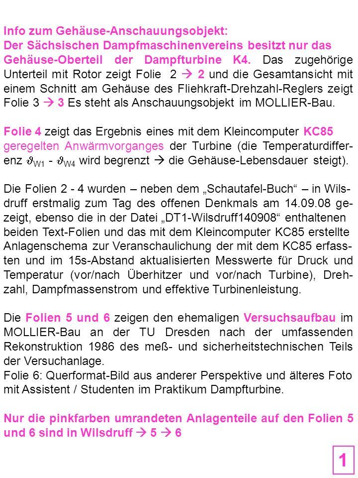 Anschauungsobjekt = Gehäuse-Oberteil der hier abgebildeten Dampfturbine K4 (2-kränzige CURTIS-Stufe, Turbinenfabrik Dresden, 1950) Leckdampf 0 Arbeitsdampf Leckdampf 0 Laufschaufel-Profile (Deckband entfernt) Kamm-Nut-Laby- rinth Stopfbuchse 2.