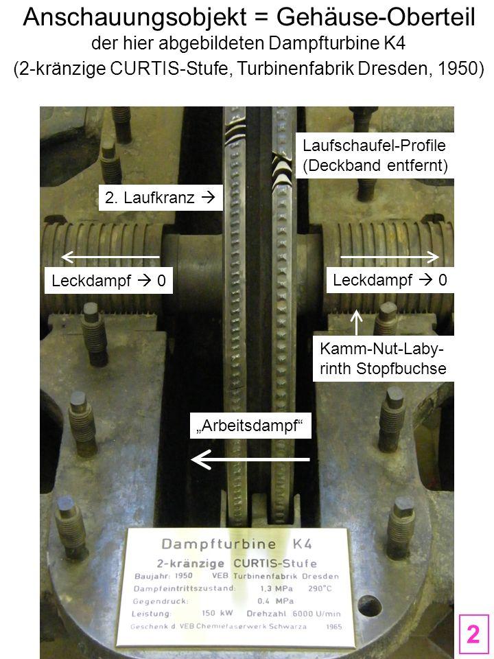 Dampfturbine K4 2-kränzige CURTIS-Stufe Turbinenfabrik Dresden, 1950 Fliehkraft-Drehzahl-Regler ohne Hilfsenergie Gleitlager auf Kupplungsseite Labyrinth Stopfbuchse 3 Standort: TU Dresden, MOLLIER-Bau