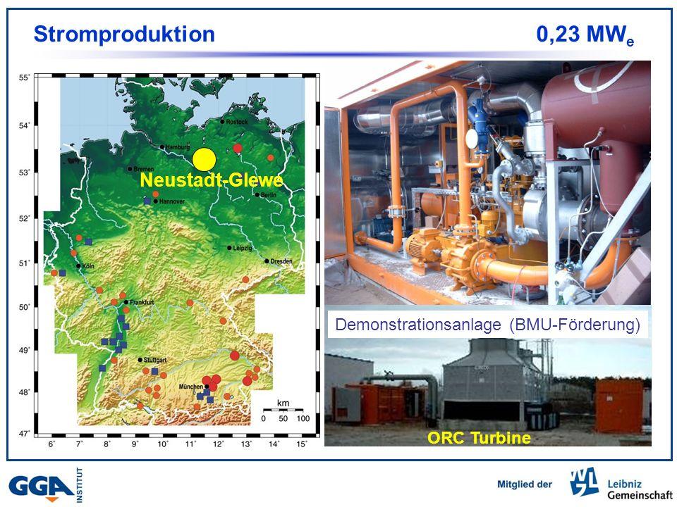 Stand 2004 Stromproduktion 0,23 MW e Neustadt-Glewe Stromproduktion: 230 kW Jährliche Energie: 1500 MWh/a Neustadt-Glewe ORC Turbine Demonstrationsanlage (BMU-Förderung)