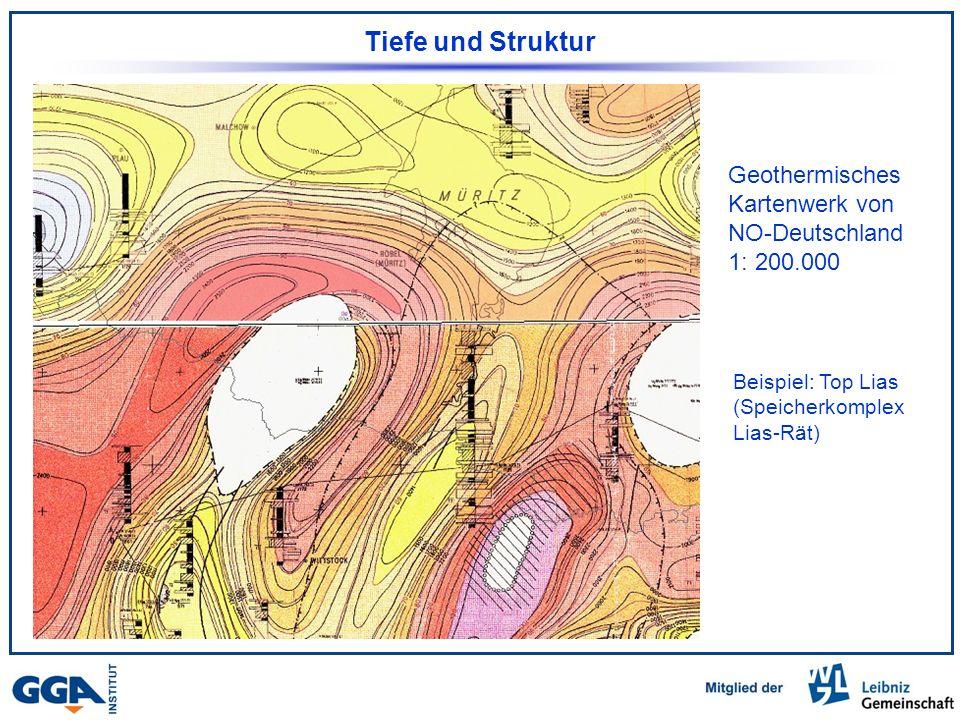 Tiefe und Struktur Geothermisches Kartenwerk von NO-Deutschland 1: 200.000 Beispiel: Top Lias (Speicherkomplex Lias-Rät)