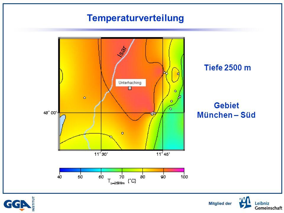 Temperaturverteilung Tiefe 2500 m Gebiet München – Süd Isar Unterhaching