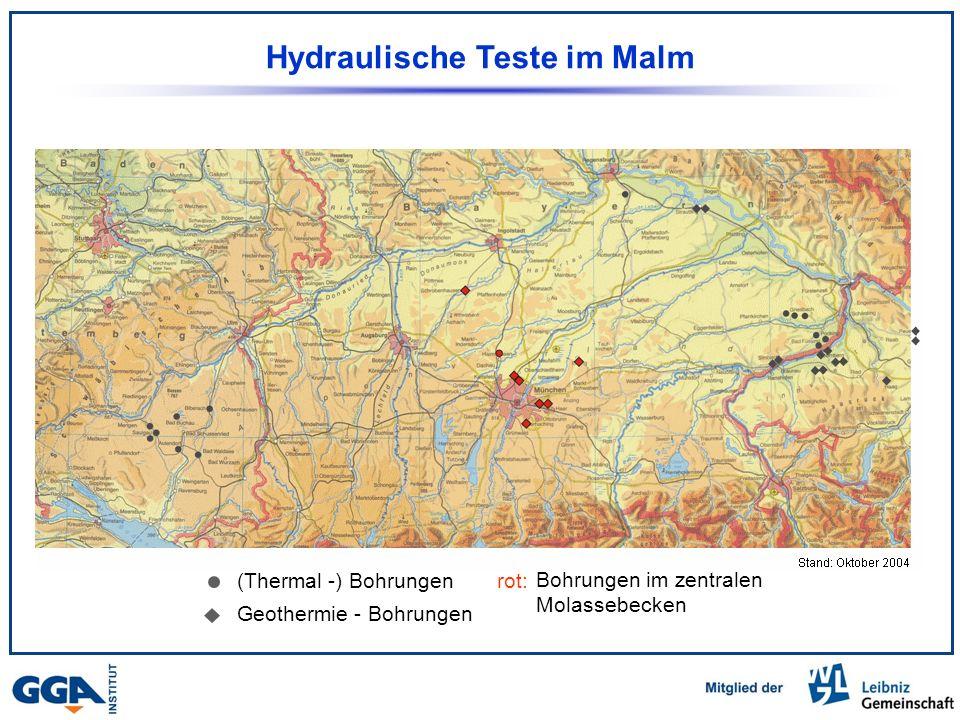 Hydraulische Teste im Malm (Thermal -) Bohrungen Geothermie - Bohrungen Bohrungen im zentralen Molassebecken rot: