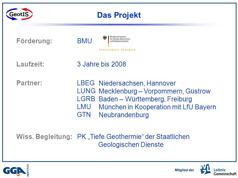 Das Projekt BMU 3 Jahre bis 2008 LBEG LUNG LGRB LMU GTN Wiss.