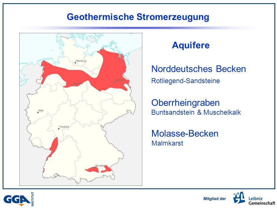 Norddeutsches Becken Rotliegend-Sandsteine Oberrheingraben Buntsandstein & Muschelkalk Molasse-Becken Malmkarst Aquifere Geothermische Stromerzeugung