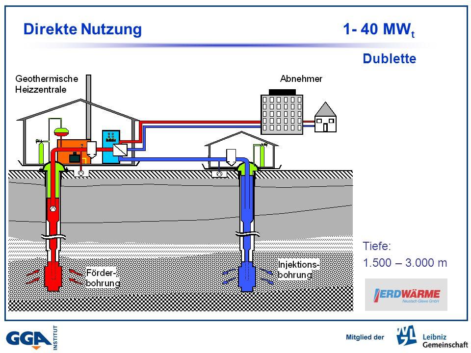 Dublette Tiefe: 1.500 – 3.000 m Direkte Nutzung1- 40 MW t
