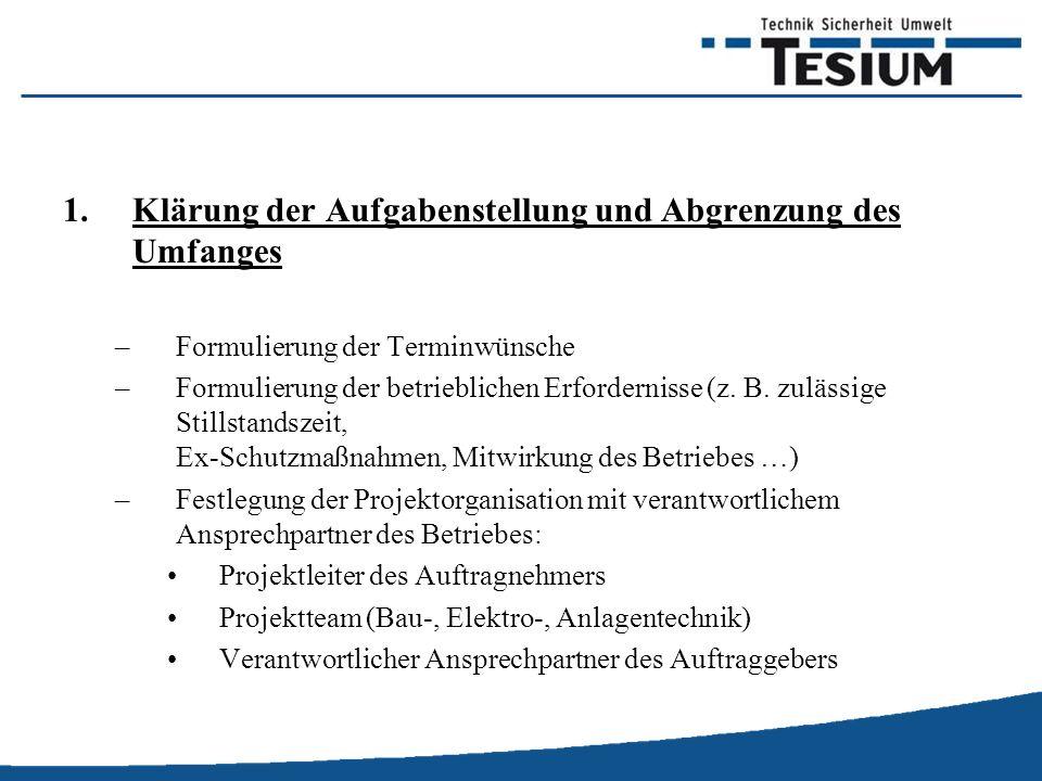 1.Klärung der Aufgabenstellung und Abgrenzung des Umfanges –Formulierung der Terminwünsche –Formulierung der betrieblichen Erfordernisse (z.