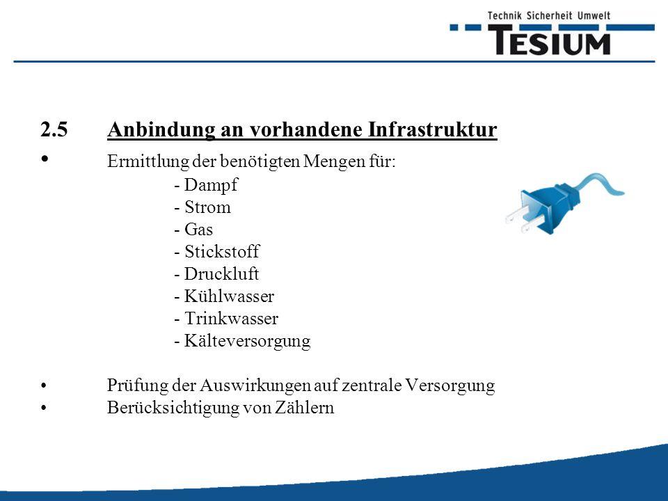2.5Anbindung an vorhandene Infrastruktur Ermittlung der benötigten Mengen für: - Dampf - Strom - Gas - Stickstoff - Druckluft - Kühlwasser - Trinkwasser - Kälteversorgung Prüfung der Auswirkungen auf zentrale Versorgung Berücksichtigung von Zählern