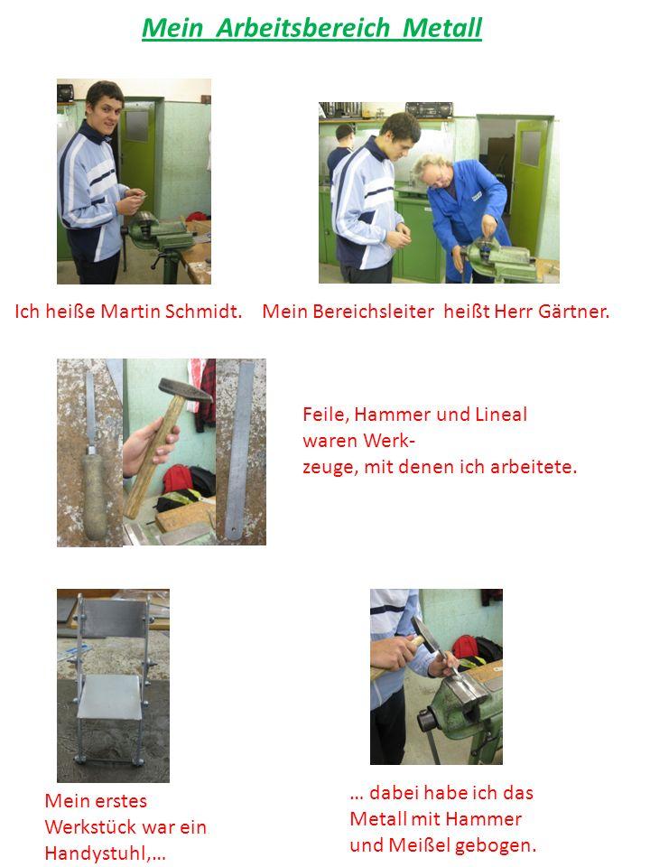 Mein Arbeitsbereich Metall Ich heiße Martin Schmidt.Mein Bereichsleiter heißt Herr Gärtner.