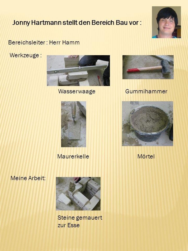 Jonny Hartmann stellt den Bereich Bau vor : Bereichsleiter : Herr Hamm Werkzeuge : Wasserwaage Maurerkelle Gummihammer Steine gemauert zur Esse Mörtel Meine Arbeit: