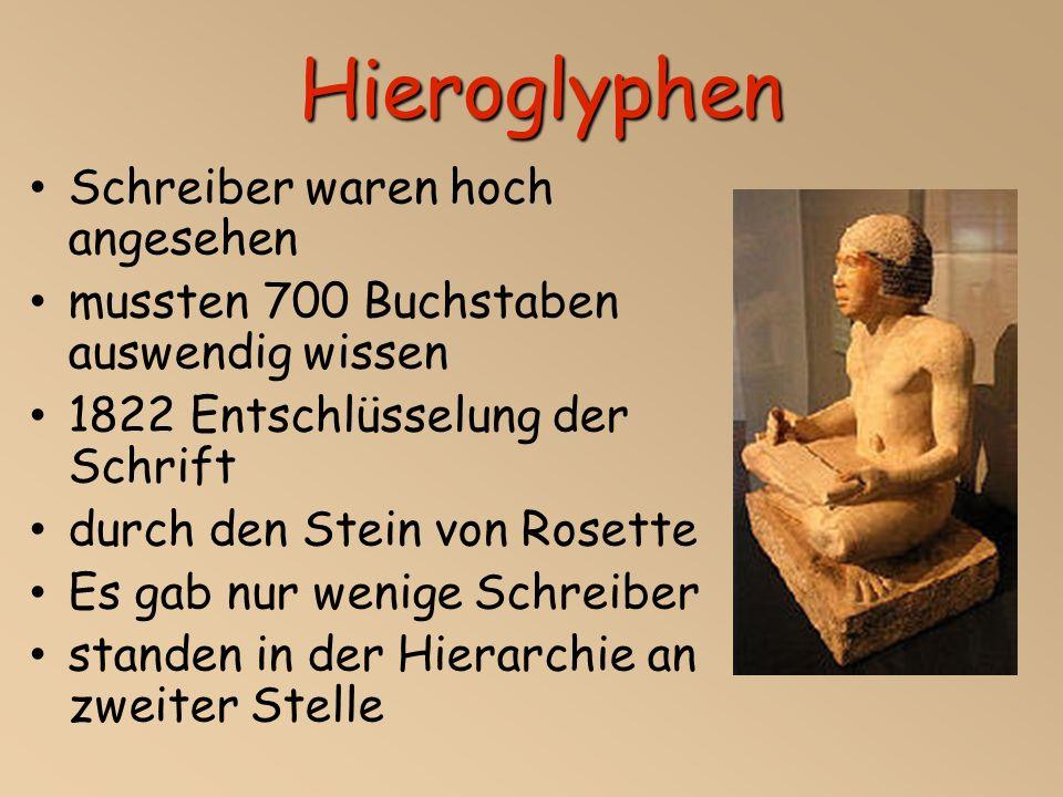 Hieroglyphen Schreiber waren hoch angesehen mussten 700 Buchstaben auswendig wissen 1822 Entschlüsselung der Schrift durch den Stein von Rosette Es gab nur wenige Schreiber standen in der Hierarchie an zweiter Stelle