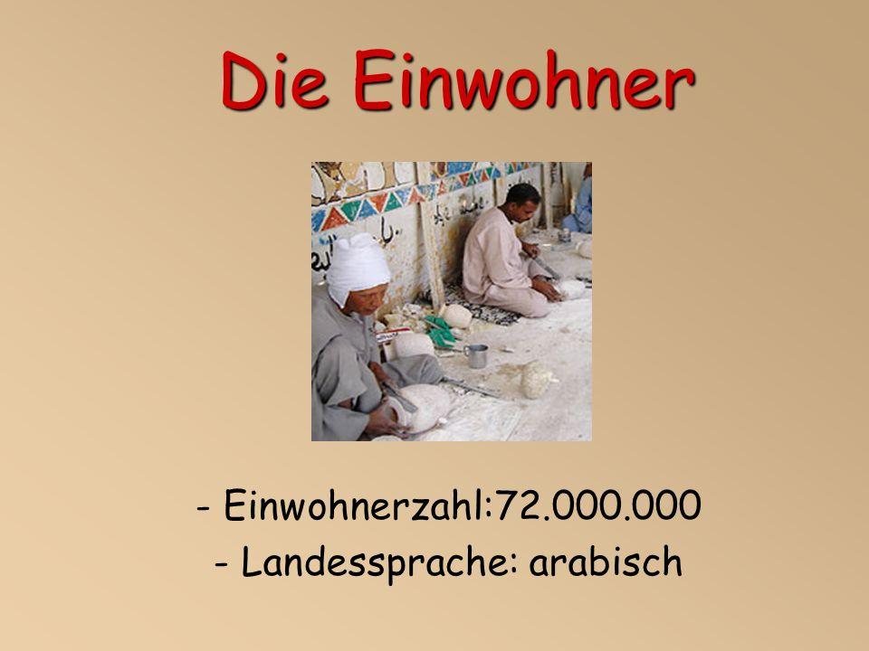Die Einwohner - Einwohnerzahl:72.000.000 - Landessprache: arabisch