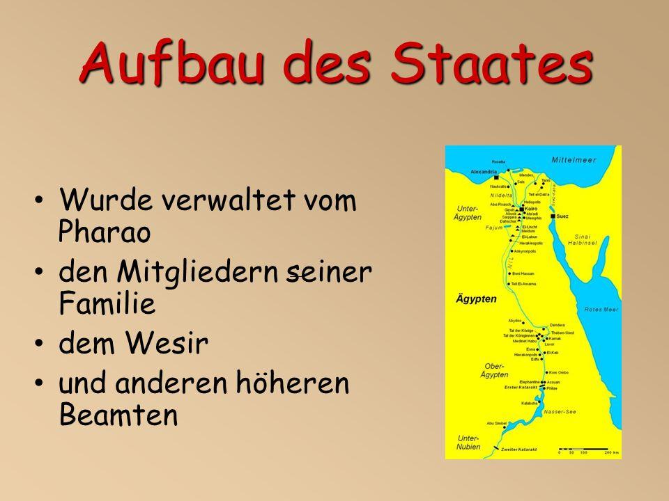 Aufbau des Staates Wurde verwaltet vom Pharao den Mitgliedern seiner Familie dem Wesir und anderen höheren Beamten