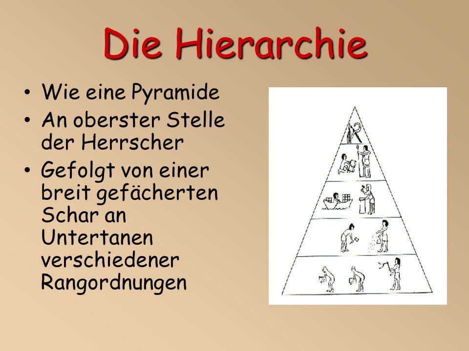 Die Hierarchie Wie eine Pyramide An oberster Stelle der Herrscher Gefolgt von einer breit gefächerten Schar an Untertanen verschiedener Rangordnungen