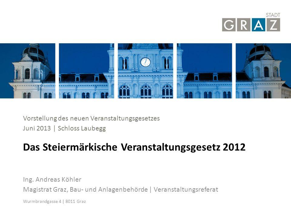 Stadt Graz | Graz-Rathaus | 8010 Ing. Andreas Köhler Magistrat Graz, Bau- und Anlagenbehörde | Veranstaltungsreferat Das Steiermärkische Veranstaltung