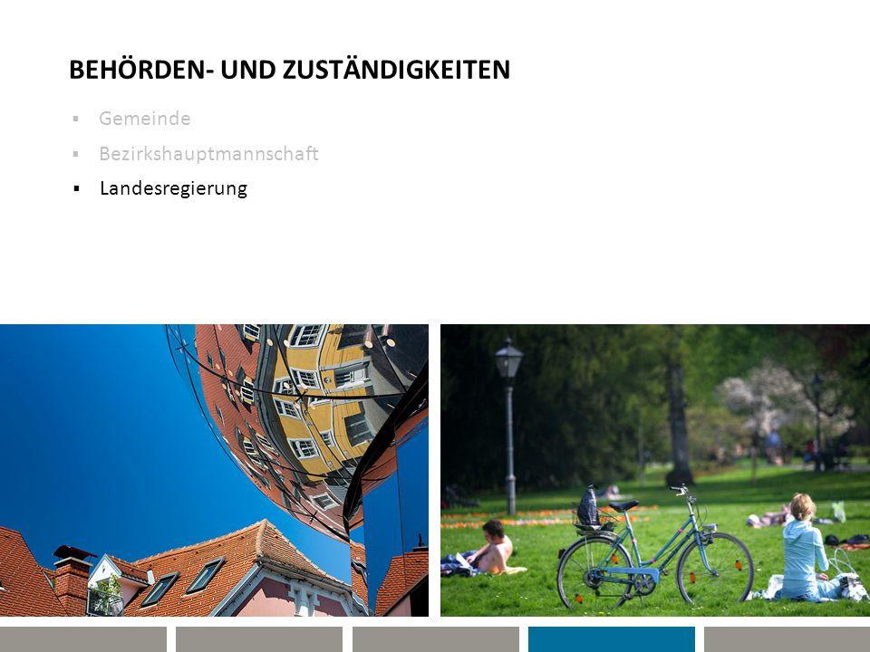 BEHÖRDEN- UND ZUSTÄNDIGKEITEN Gemeinde Landesregierung Bezirkshauptmannschaft