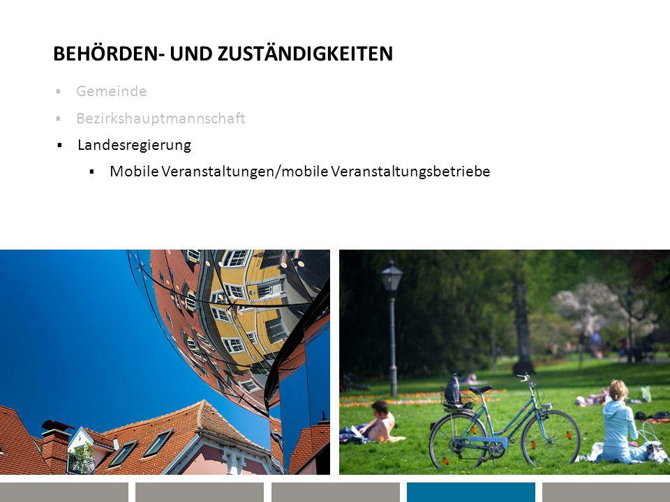 BEHÖRDEN- UND ZUSTÄNDIGKEITEN Gemeinde Bezirkshauptmannschaft Mobile Veranstaltungen/mobile Veranstaltungsbetriebe Landesregierung