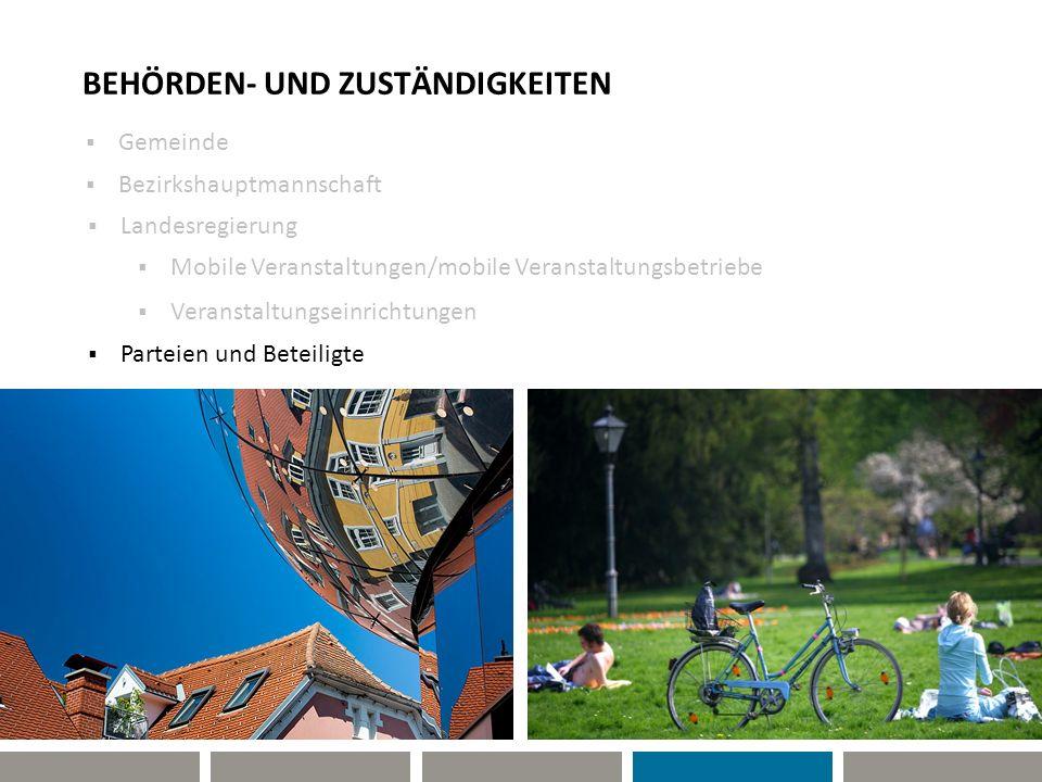 BEHÖRDEN- UND ZUSTÄNDIGKEITEN Gemeinde Bezirkshauptmannschaft Parteien und Beteiligte Mobile Veranstaltungen/mobile Veranstaltungsbetriebe Veranstaltu