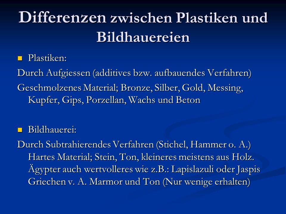 Differenzen zwischen Plastiken und Bildhauereien Plastiken: Plastiken: Durch Aufgiessen (additives bzw. aufbauendes Verfahren) Geschmolzenes Material;
