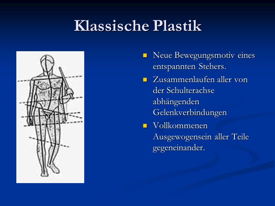Klassische Plastik Neue Bewegungsmotiv eines entspannten Stehers. Zusammenlaufen aller von der Schulterachse abhängenden Gelenkverbindungen Vollkommen