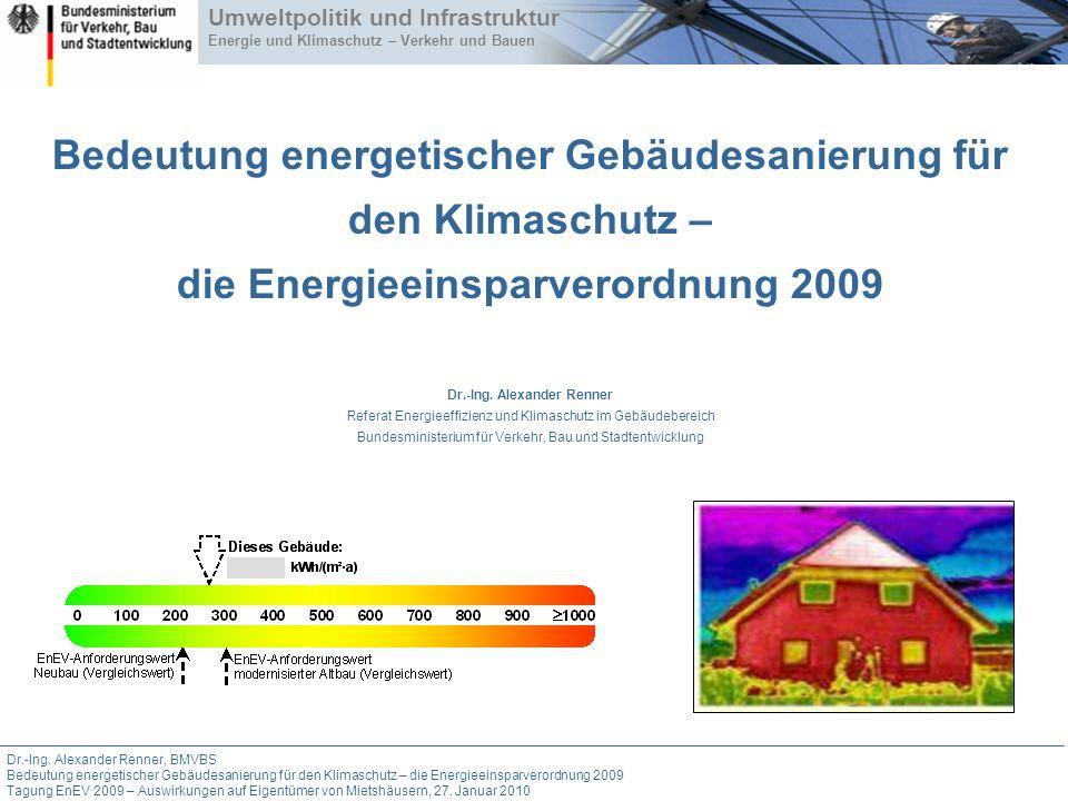 Dr.-Ing. Alexander Renner, BMVBS Bedeutung energetischer Gebäudesanierung für den Klimaschutz – die Energieeinsparverordnung 2009 Tagung EnEV 2009 – A