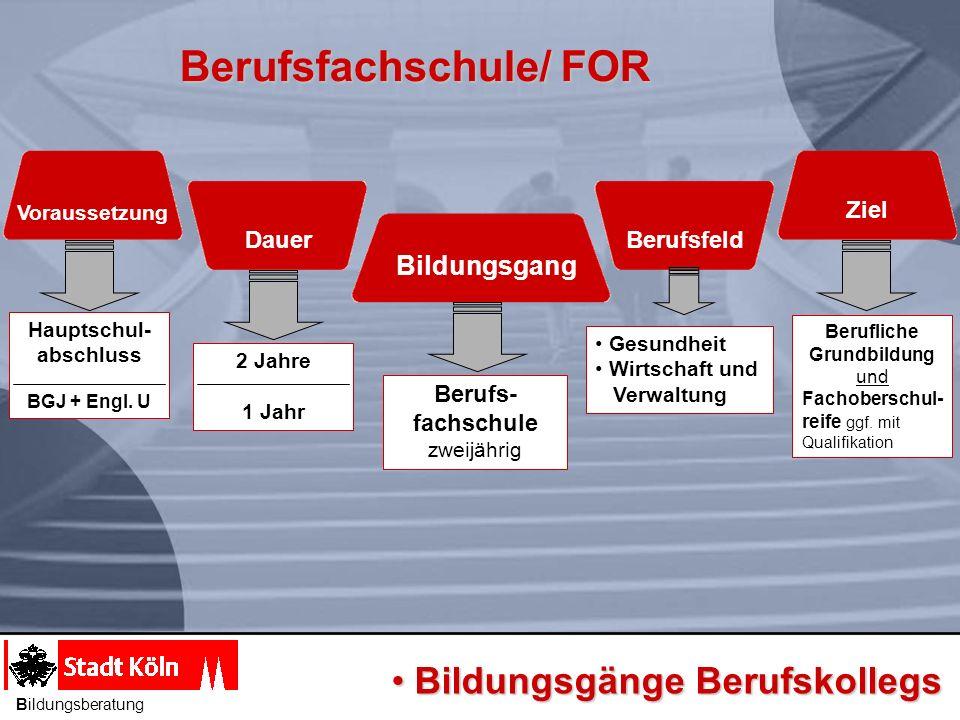 Berufsfachschule/ FOR Bildungsgang Voraussetzung Dauer Berufsfeld Ziel Berufs- fachschule zweijährig 2 Jahre 1 Jahr Hauptschul- abschluss BGJ + Engl.