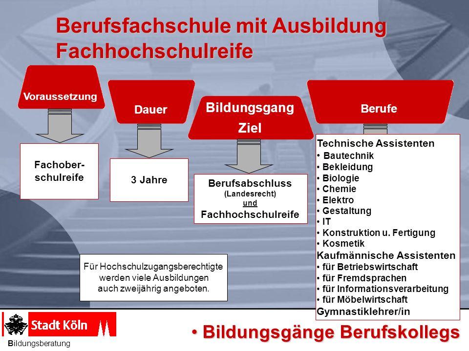 Berufsfachschule mit Ausbildung Fachhochschulreife Voraussetzung Dauer Berufe Bildungsgang Ziel Berufsabschluss (Landesrecht) und Fachhochschulreife 3