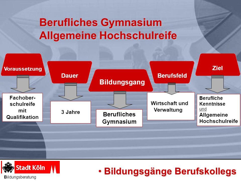 Berufliches Gymnasium Allgemeine Hochschulreife Berufliches Gymnasium Allgemeine Hochschulreife Bildungsgang Voraussetzung Dauer Berufsfeld Ziel Beruf