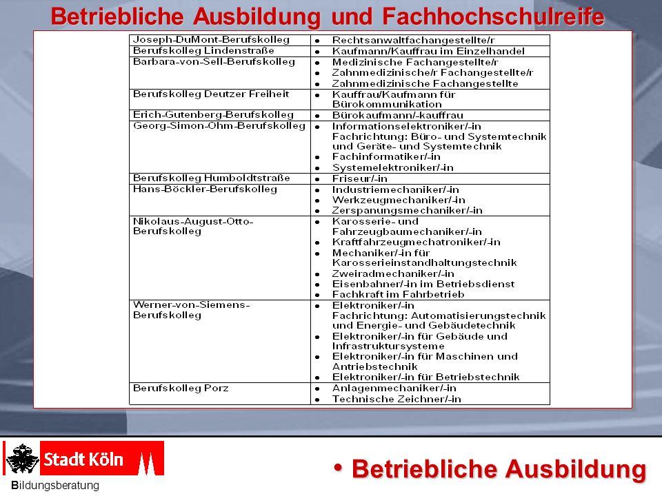 Bildungsgang Voraussetzung Dauer Berufsfeld Ziel Fachoberschule Kl.