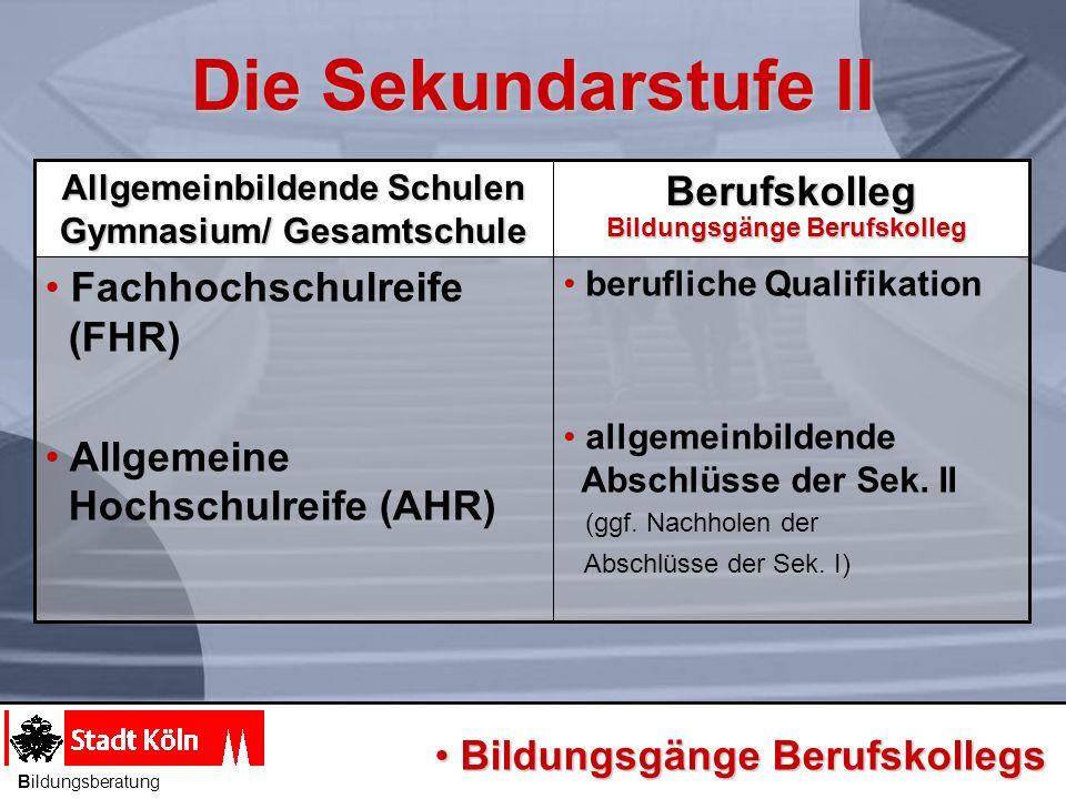 berufliche Qualifikation allgemeinbildende Abschlüsse der Sek. II (ggf. Nachholen der Abschlüsse der Sek. I) Fachhochschulreife (FHR) Allgemeine Hochs