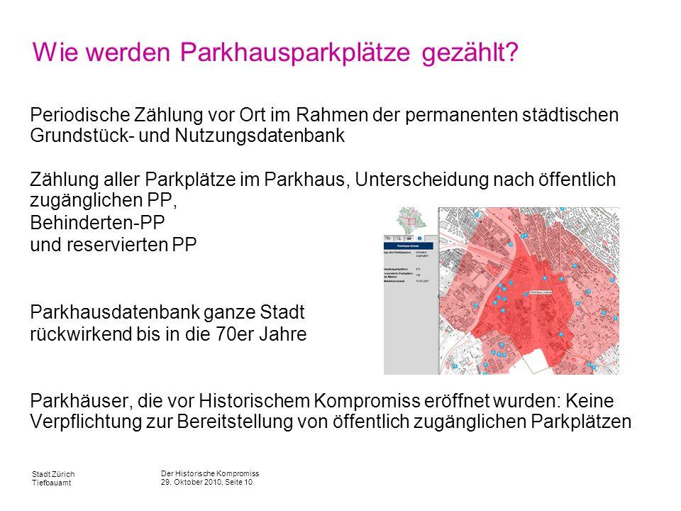 Der Historische Kompromiss 29. Oktober 2010, Seite 10 Stadt Zürich Tiefbauamt Wie werden Parkhausparkplätze gezählt? Periodische Zählung vor Ort im Ra