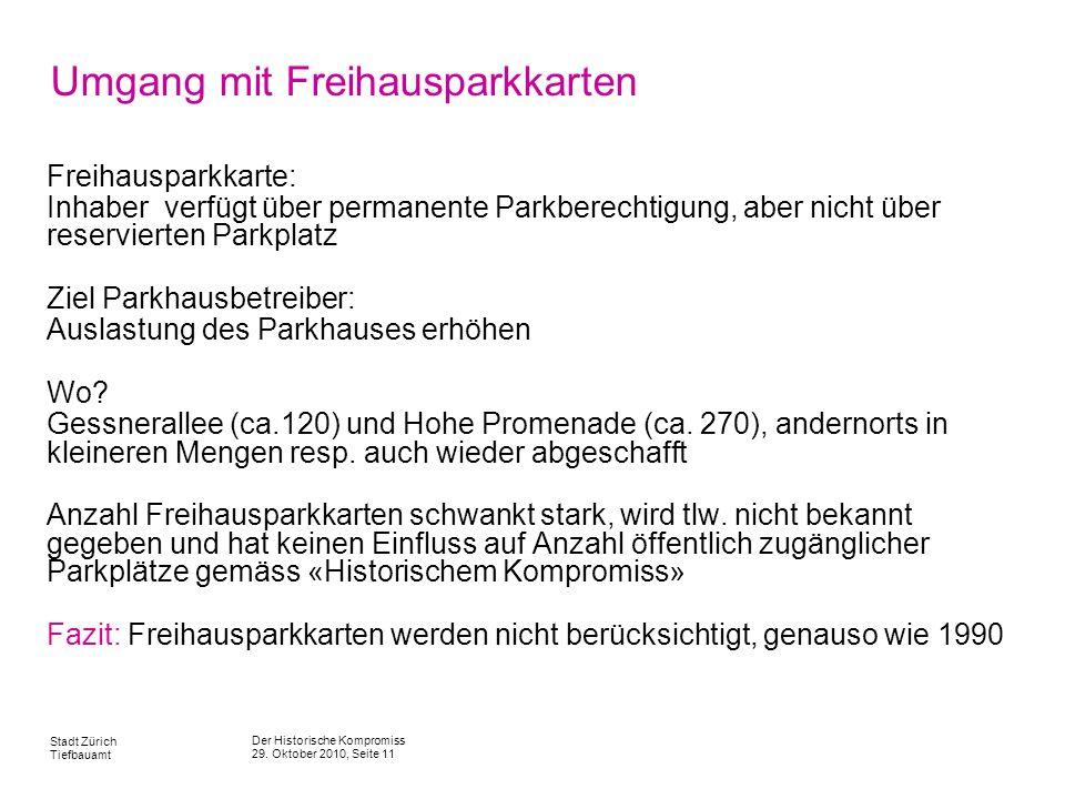 Der Historische Kompromiss 29. Oktober 2010, Seite 11 Stadt Zürich Tiefbauamt Umgang mit Freihausparkkarten Freihausparkkarte: Inhaber verfügt über pe