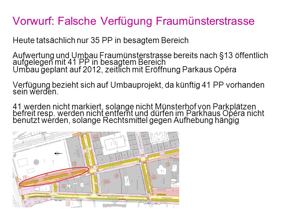 Der Historische Kompromiss 29. Oktober 2010, Seite 20 Stadt Zürich Tiefbauamt Vorwurf: Falsche Verfügung Fraumünsterstrasse Heute tatsächlich nur 35 P
