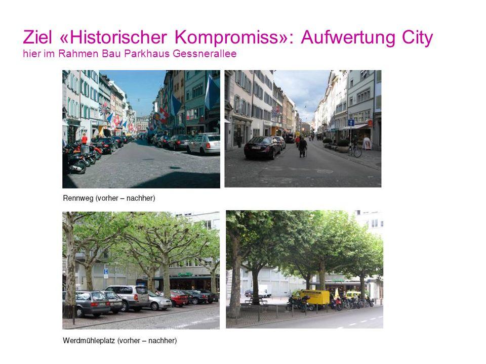 Der Historische Kompromiss 29. Oktober 2010, Seite 28 Stadt Zürich Tiefbauamt Ziel «Historischer Kompromiss»: Aufwertung City hier im Rahmen Bau Parkh