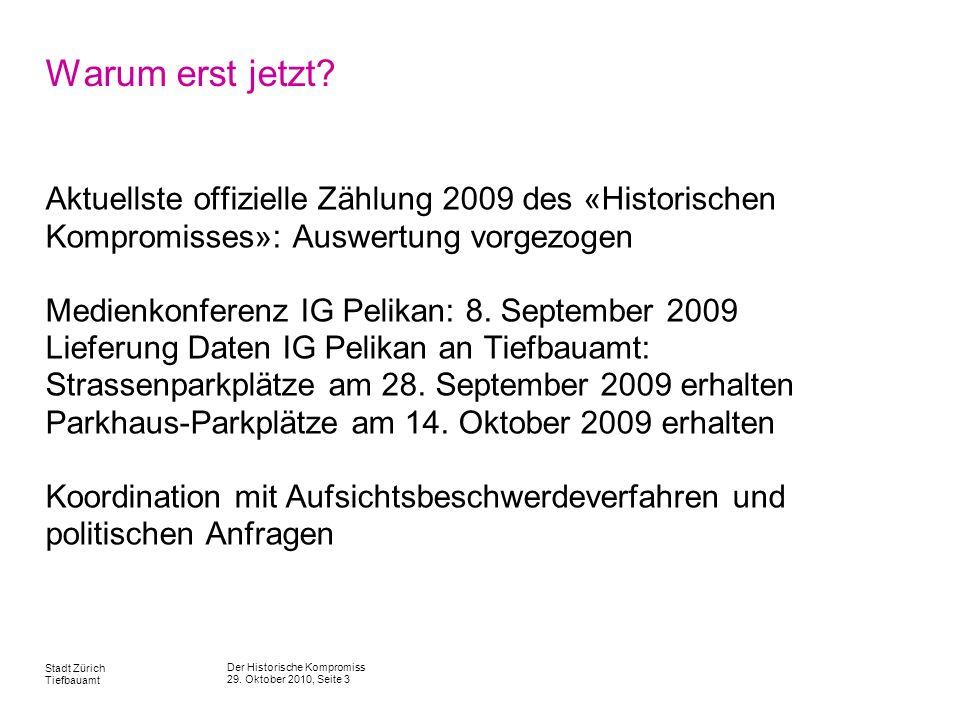 Der Historische Kompromiss 29. Oktober 2010, Seite 3 Stadt Zürich Tiefbauamt Warum erst jetzt? Aktuellste offizielle Zählung 2009 des «Historischen Ko